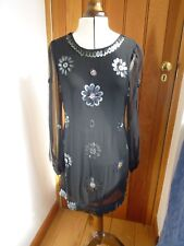 FRENCH CONNECTION BLACK SEQUIN FLOWER SHEER SLEEVES MINI DRESS UK 12 DRY CLEANED