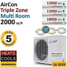 42000 BTU 3 Tri Zone Mini Split Air Conditioner Ductless AC Multi Heat Pump