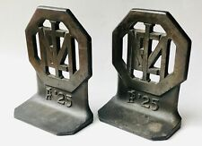 Antique 1925 Art Deco Cast Iron Bookends IME Military Institute Of Engineering?