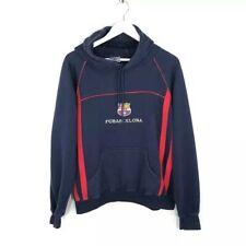 Vintage FC Barcelona Logo Embroidery Navy Hoodie Men's Size: L