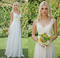 Chiffon lace White/ivory Wedding Dress Bridal Gown Stock Size6 8 10 12 14 16