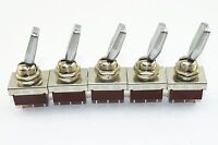 5Pcs A 250V 3A 3 Position ON/OFF/ON DPDT Flat Handle Toggle Switch