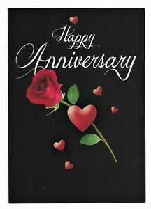 Happy Anniversary Nice Rose/Black Greetings Card by Cards For You- Free P&P