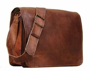 "9""-11"" New Real Leather Vintage Style Messenger Handmade Briefcase Bag Satchel"