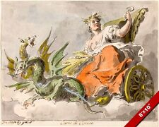 ROMAN GODESS OF CEREAL CERES UPON HER CHARIOT PAINTING ART REAL CANVAS PRINT
