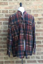 National Geographic Travel Collections Mens Button Shirt Sz L Blue Red Plaid EUC