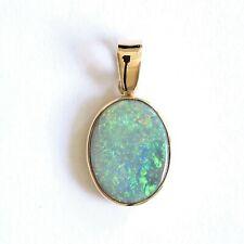 Natural semi black opal 1.86ct pendant set in 18ct yellow gold Made in Australia