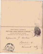 1883 CP18a fino utilizado para Berlín H&B QV 1d + 1d tarjeta de respuesta Marrón PS Postal &
