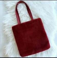 Forever 21 Faux Fur Tote Burgundy Red Satchel Large Handbag Double Handles 14x13
