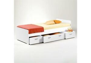 Schubladenbett Boro Jugendbett Funktionsbett mit Stauraum weiß 90x200 cm