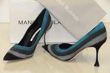 Nuevo Manolo Blahnik Gris Verde Azulado ante Negro Zapatos BB Tacones 36.5