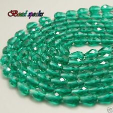 VTG 50 GRASS GREEN FACETED RONDELLE BEADS 4x8mm GLASS #050812y