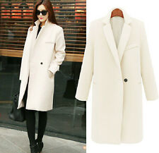 Winter Womens Wool Cashmere Long Winter Parka Trench Coat Outwear Fleece Tops