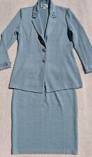 ST JOHN Evening Paillette 6 8 Baby Blue Skirt Jacket  Set Diamond Detail Button
