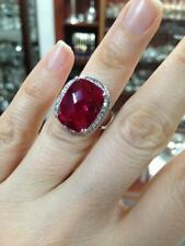 Red Topaz Halo Engagement Wedding Ring With 26.51ct Cushion Cut Stone & 925 SS