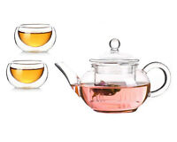 Glass Teapot for Chinese Tea 250ml/8.8oz + 2 Cups 50ml/1.8oz Gift