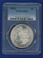 1885 S PCGS MS62 Morgan Silver Dollar $1 Rare Date 1885-S PCGS MS-62 Very PQ!