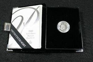 1999 W 10$ United States America Platinum Eagle 1/10 oz Proof Coin With COA
