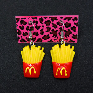 Pet Burger And Fries Earrings Silver Plated Hooks. Cute Hamburger And French Fries kawaii