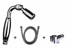 1.5 GPM All Metal Handheld Showerhead w/ Solid Metal Holder & Hose: Chrome