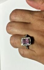 Pink Princess Cut Ring with Lab-Created Stones Silver Color, US 9, EUR 59.5