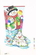 NEEDLEPOINT HANDPAINTED Canvas LEE Christmas Stocking SNOWBALL TREE 13M NEW