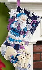 Felt Embroidery Kit - Plaid / Bucilla Arctic Santa Stocking #86653