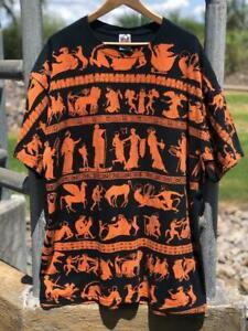 VTG 90s Anvil Greek Mythology All over Print Hieroglyphics Art T Shirt 2XL