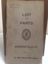 Singer Sewing Machine No. 71-112 RARE ANTIQUE 1947 ORIGINAL List Of Parts