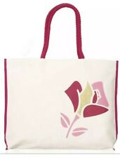 "LANCOME Paris PINK Summer Canvas Tote Bag Rose w/Gold Glitter 13"" x 18"" x 2"" New"