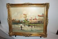 Vintage Italian Oil Painting Village Buildings People SIGNED Gilded Frame Canvas