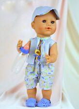 Schildkröt Puppenkleidung für 40 cm Brüderchen, Sommerset mit Schirmmütze
