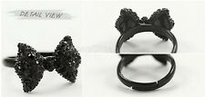 Ladies Women Black Rhinestone Crystal Bowknot Bow Tie Adjustable Ring QC