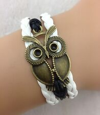 Bracelet blanc grand hibou en bronze. top tendance 2014