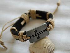 Black leather bracelet for men women with beige cord cross motif unisex