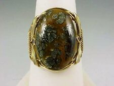 VINTAGE 14 GOLD FILLED WIRE AND LEOPARD  AGATE RING SIZE 8