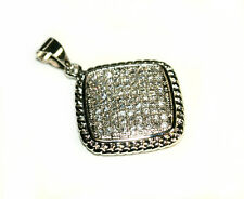 Beautiful Pendant Pave Set With White CZ Made of Copper-Rhodium Plated-Boxed!