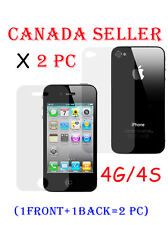 2 pcs 1 FRONT + 1 BACK Full Body Clear Screen Protector Film for iPhone 4 4S 4g