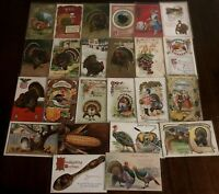 Lot of 25 Antique Thanksgiving Postcards~Turkeys~Children~Corn~Pilgrims-c274
