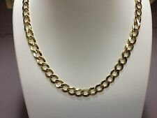 """14KTSolid Gold Comfort Curb Link Chain Necklace 24"""" 8 mm 37.5 grams (CC210)"""