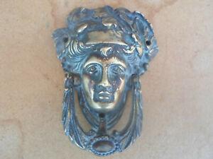 VINTAGE  BRASS DOOR KNOCKER WITH GREEK ROMAN GOD BACCHUS DIONYSUS