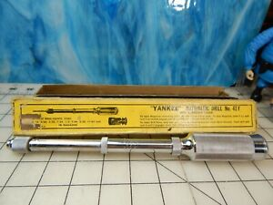 Vintage Yankee Stanley no.41 Automatic Hand Drill IN Box drill points bits