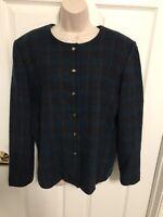 Vintage Pendleton Blazer Jacket Womens Size 12 Wool Plaid Made In USA