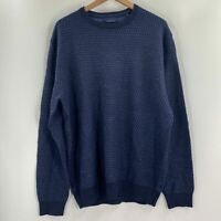 Toscano Mens Merino Wool Blue Long Sleeve Round Neck Pullover Sweater XL