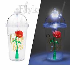 Beauty And The Beast Enchanted Rose Light Up Dome Tumbler Cup With Straw