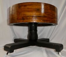 Antique Industrial Wooden Flat Belt Pulley Split Wheel SIDE TABLE. Steampunk