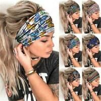 Women Wide Printed Yoga Elastic Hairband Sport Gym Headband Turban Sweatband AU
