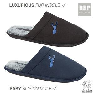 MENS Joe & Jo Luxury SLIPPERS MULES COSY FAUX FUR LINED HARD SOLE UK SIZE 7-12