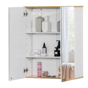 kleankin Badspiegel Badezimmerschrank Wandschrank mit 3 Ablagen Spanplatte