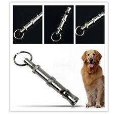 Pet Dog Training Adjustable Ultrasonic Sound Metal Whistle Keychain Pitch Silver